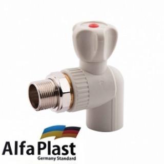 Кран радиаторный угловой 25 Alpha Plast
