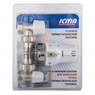 Комплект кранов с термоголовкой радиаторный угловой ICMA 1/2'' KTE 985 +774 +805