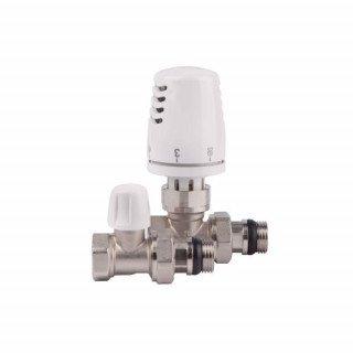 Комплект кранов c антипротечкой с термоголовкой радиаторный прямой ICMA 1/2'' KIT H 1100+775-940+815-940